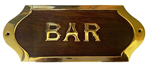 Kartique Wooden Brass Bar Name Sign Decoration for Personal Home Whiskey Wine Beer Coctail Party Alcoholic Friend Accessories