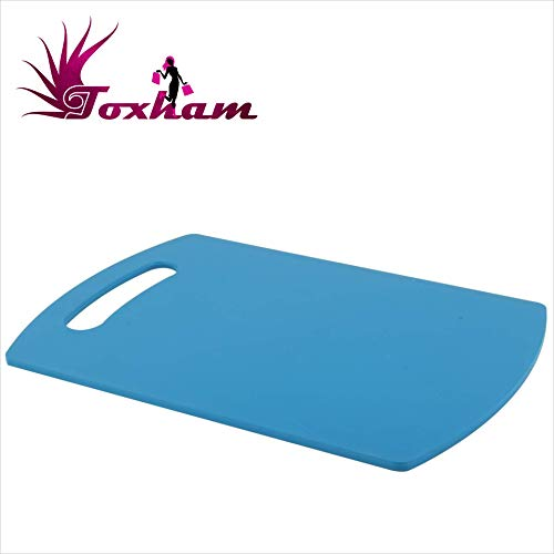 Toxham Premium Unbreakable ABS Free Kitchen Chopping Cutting Board with Handle (Blue)
